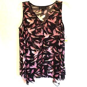 INC V-Neck Semi Sheer Top Black Pink Birds Medium